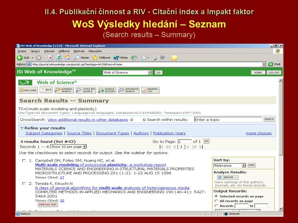 II.4. Publikační činnost a RIV - Citační index a Impakt faktor II.4. Publikační činnost a RIV - Citační index a Impakt faktor WoS Výsledky hledání – S