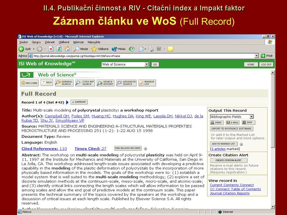 II.4. Publikační činnost a RIV - Citační index a Impakt faktor II.4. Publikační činnost a RIV - Citační index a Impakt faktor Záznam článku ve WoS (Fu