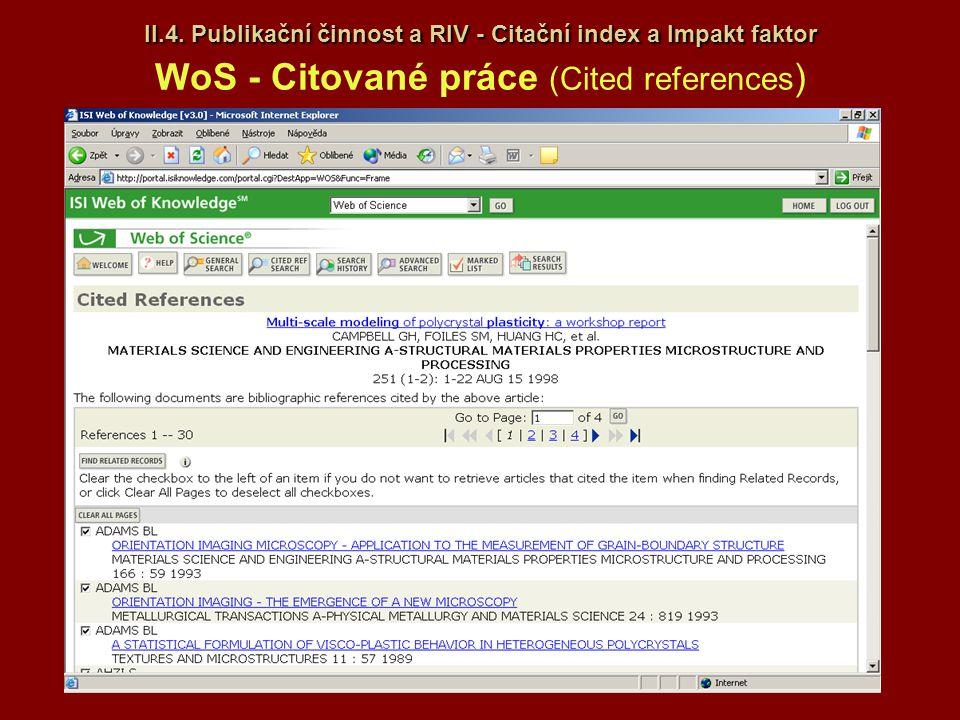 II.4. Publikační činnost a RIV - Citační index a Impakt faktor II.4. Publikační činnost a RIV - Citační index a Impakt faktor WoS - Citované práce (Ci