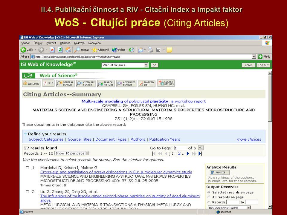 II.4. Publikační činnost a RIV - Citační index a Impakt faktor II.4. Publikační činnost a RIV - Citační index a Impakt faktor WoS - Citující práce (Ci