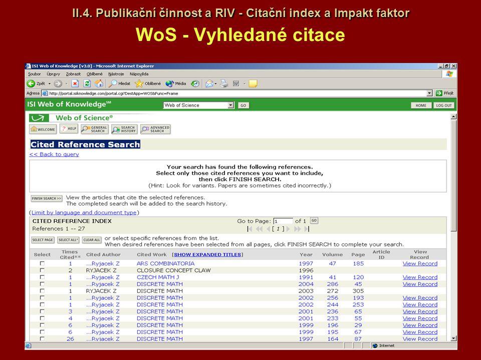 II.4. Publikační činnost a RIV - Citační index a Impakt faktor II.4. Publikační činnost a RIV - Citační index a Impakt faktor WoS - Vyhledané citace