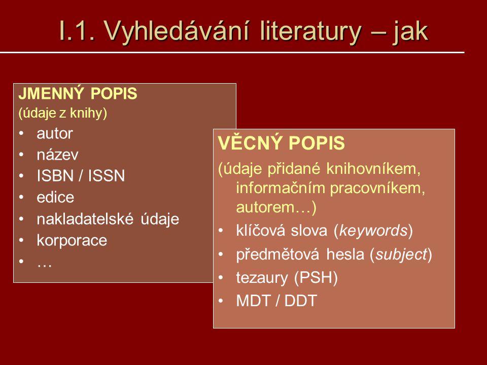 I.1. Vyhledávání literatury – jak JMENNÝ POPIS (údaje z knihy) autor název ISBN / ISSN edice nakladatelské údaje korporace … VĚCNÝ POPIS (údaje přidan