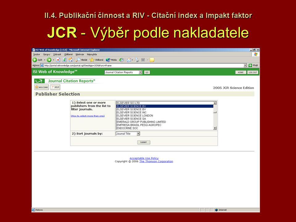 II.4. Publikační činnost a RIV - Citační index a Impakt faktor JCR -Výběr podle nakladatele II.4. Publikační činnost a RIV - Citační index a Impakt fa