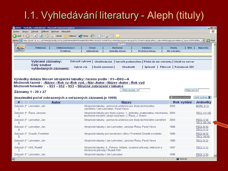 I.1.Vyhledávání literatury - A I.1.