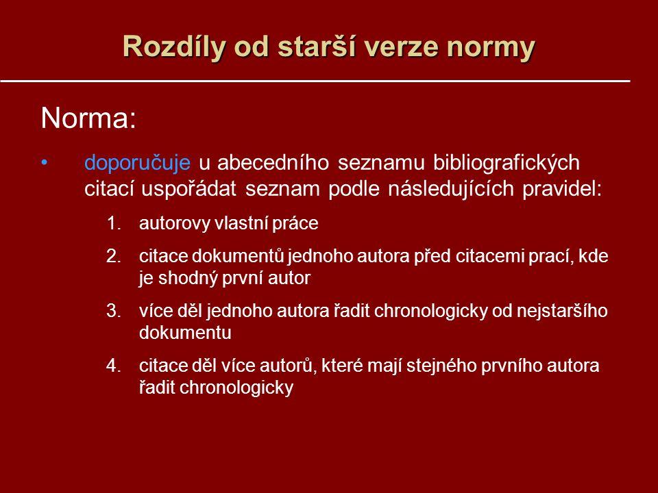 Rozdíly od starší verze normy Norma: doporučuje u abecedního seznamu bibliografických citací uspořádat seznam podle následujících pravidel: 1.autorovy