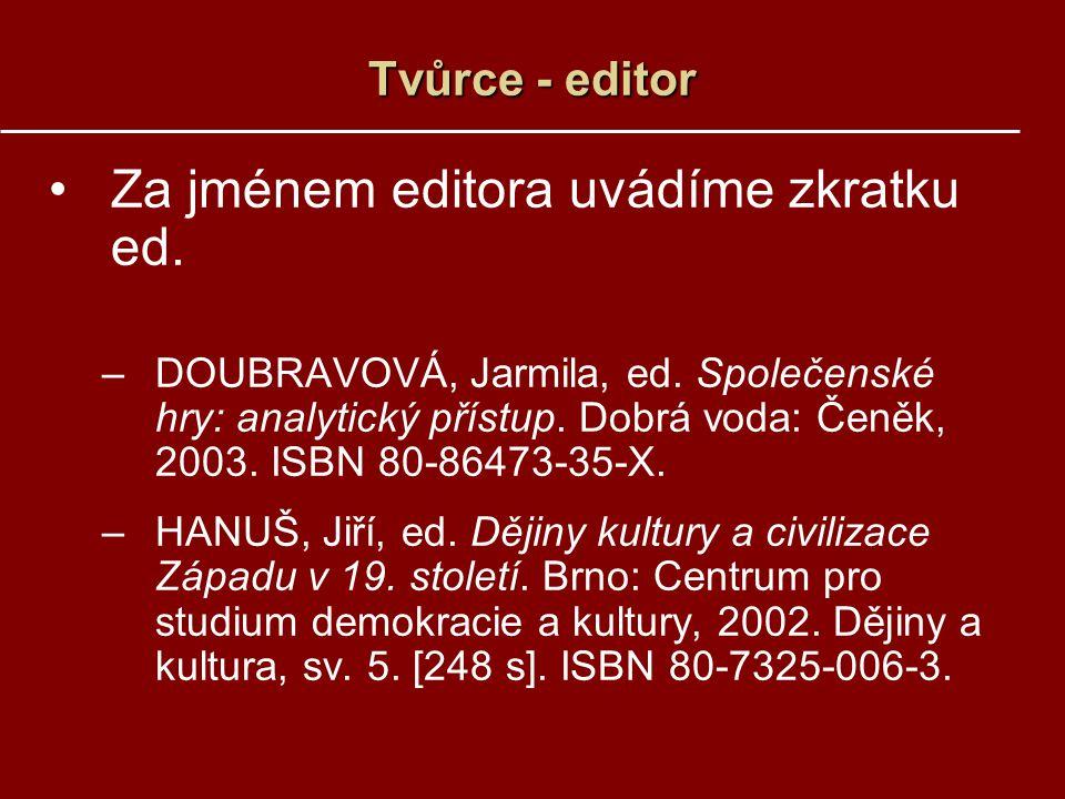 Tvůrce - editor Za jménem editora uvádíme zkratku ed. –DOUBRAVOVÁ, Jarmila, ed. Společenské hry: analytický přístup. Dobrá voda: Čeněk, 2003. ISBN 80-