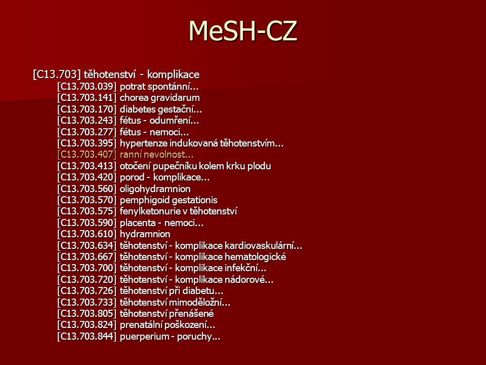 MeSH-CZ [C13.703] těhotenství - komplikace [C13.703.039] potrat spontánní...
