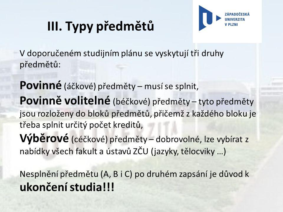 III. Typy předmětů V doporučeném studijním plánu se vyskytují tři druhy předmětů: Povinné (áčkové) předměty – musí se splnit, Povinně volitelné (béčko