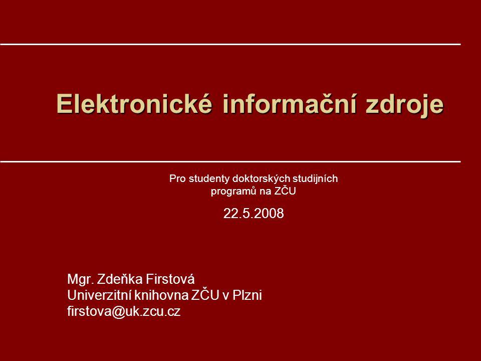 1.Elektronické informační zdrojeElektronické informační zdroje –Typy, financování, přístup –Multioborové EIZ –Vybrané oborové EIZ 2.Citační index a Impact factorCitační index a Impact factor –Web of Science –JCR Obsah