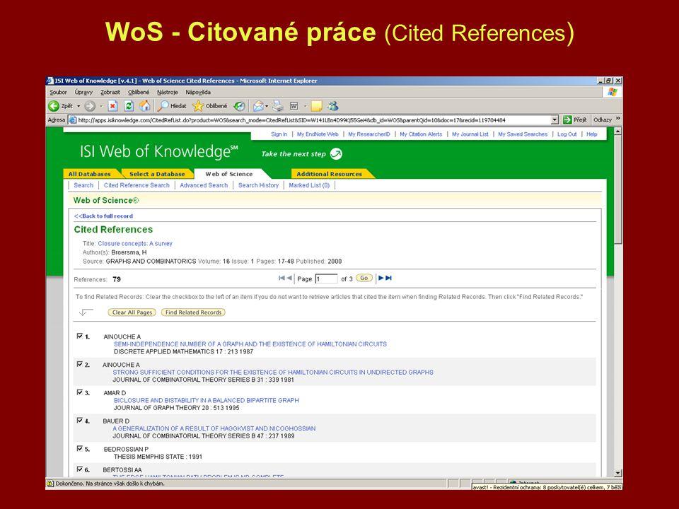 WoS - Citované práce (Cited References )