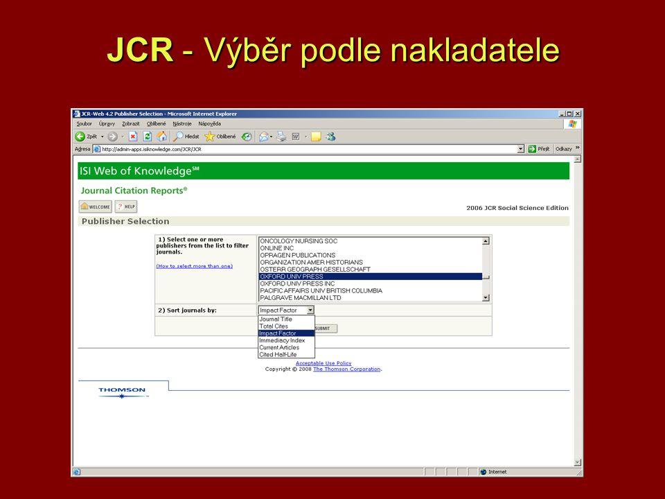 JCR -Výběr podle nakladatele JCR - Výběr podle nakladatele