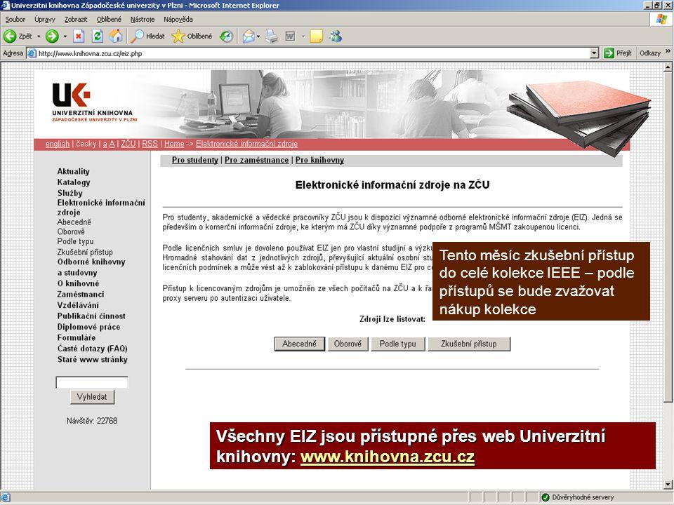 EIZ – přístup přes knihovnu Všechny EIZ jsou přístupné přes web Univerzitní knihovny: www.knihovna.zcu.cz www.knihovna.zcu.cz Tento měsíc zkušební pří