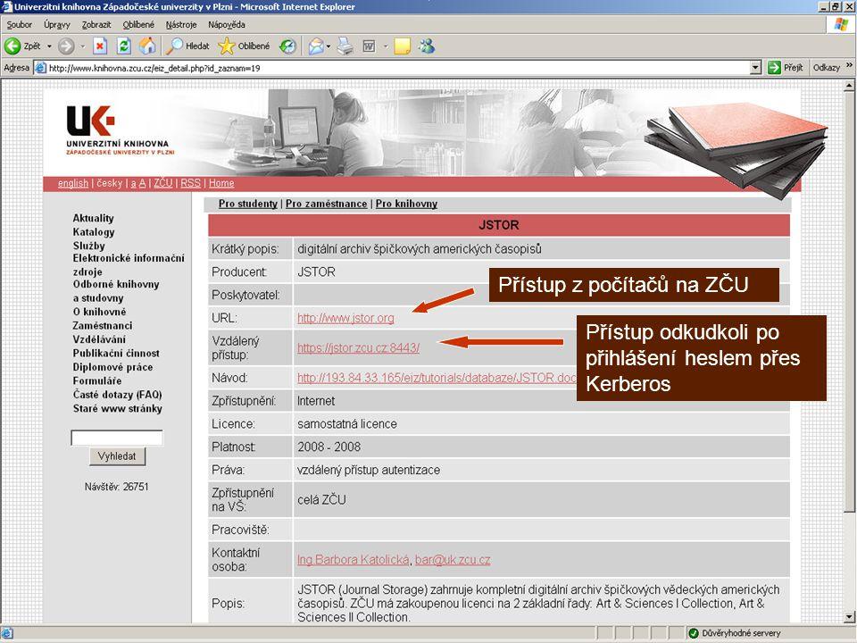 EIZ – přístup přes knihovnu Přístup z počítačů na ZČU Přístup odkudkoli po přihlášení heslem přes Kerberos