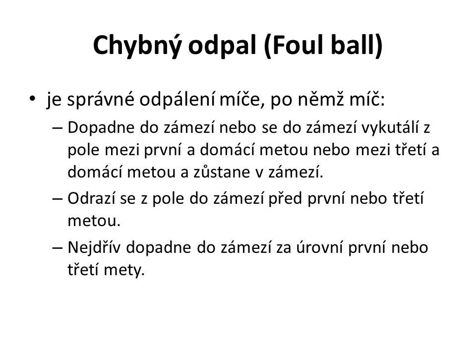 Chybný odpal (Foul ball) je správné odpálení míče, po němž míč: – Dopadne do zámezí nebo se do zámezí vykutálí z pole mezi první a domácí metou nebo m