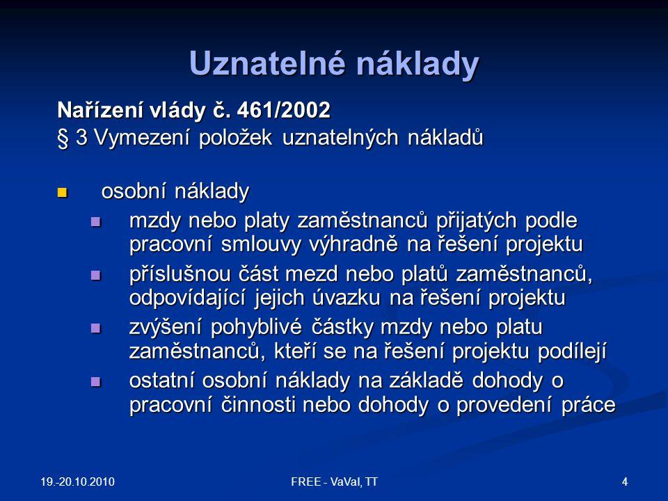 19.-20.10.2010 75FREE - VaVaI, TT Kolektivní výzkum - 2 Používá dvoufázový postup: podává se krátký návrh a vybraná množina předkladatelů je pak vyzvána k podání plného návrhu.