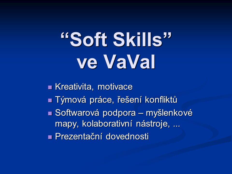 """""""Soft Skills"""" ve VaVaI Kreativita, motivace Kreativita, motivace Týmová práce, řešení konfliktů Týmová práce, řešení konfliktů Softwarová podpora – my"""