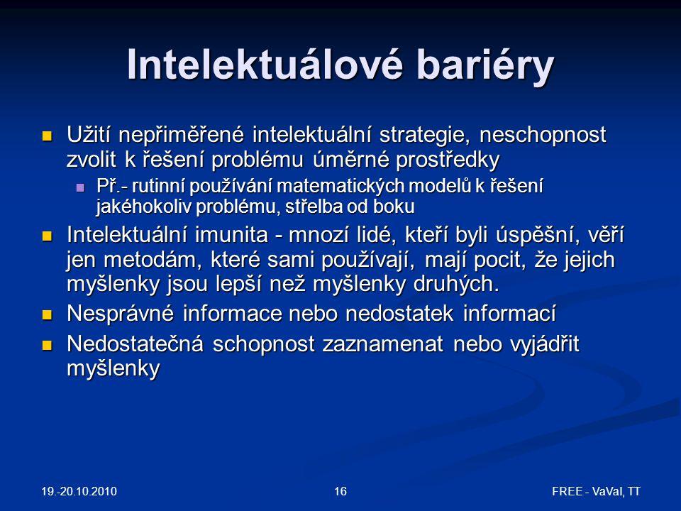 FREE - VaVaI, TT16 Intelektuálové bariéry Užití nepřiměřené intelektuální strategie, neschopnost zvolit k řešení problému úměrné prostředky Užití nepř