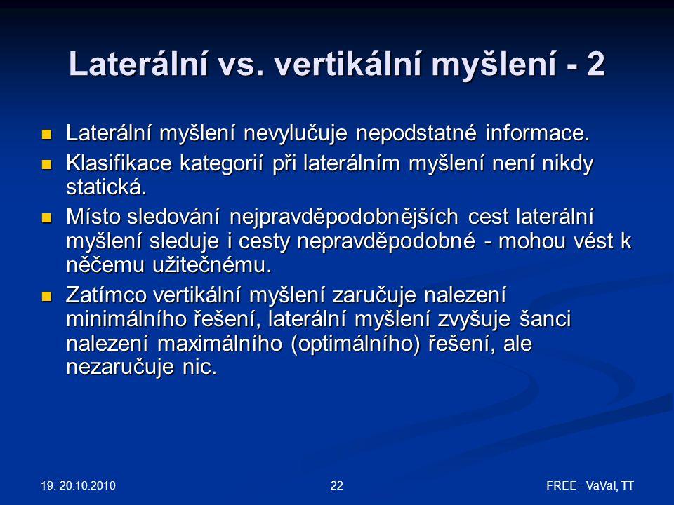 FREE - VaVaI, TT22 Laterální vs. vertikální myšlení - 2 Laterální myšlení nevylučuje nepodstatné informace. Laterální myšlení nevylučuje nepodstatné i