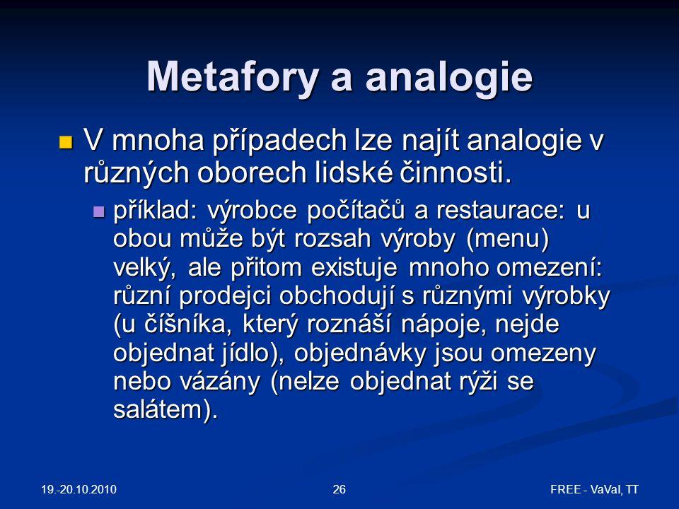 FREE - VaVaI, TT26 Metafory a analogie V mnoha případech lze najít analogie v různých oborech lidské činnosti. V mnoha případech lze najít analogie v