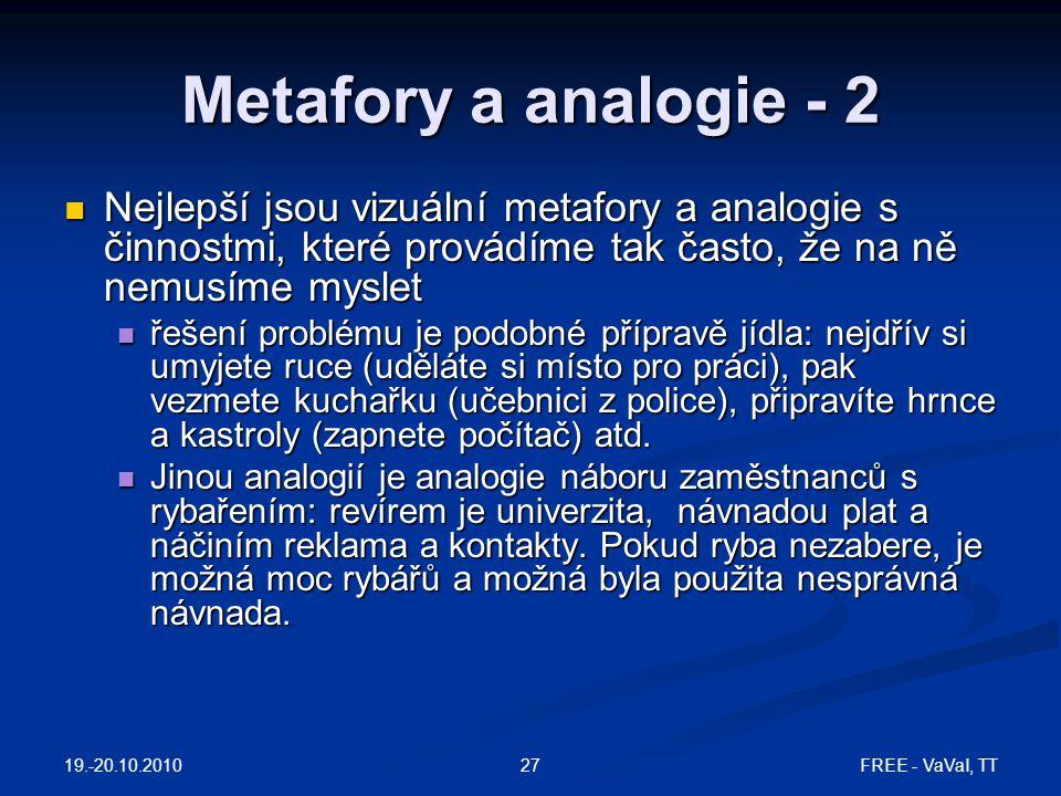 FREE - VaVaI, TT27 Metafory a analogie - 2 Nejlepší jsou vizuální metafory a analogie s činnostmi, které provádíme tak často, že na ně nemusíme myslet