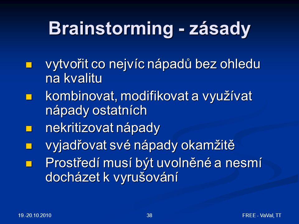 FREE - VaVaI, TT38 Brainstorming - zásady vytvořit co nejvíc nápadů bez ohledu na kvalitu vytvořit co nejvíc nápadů bez ohledu na kvalitu kombinovat,