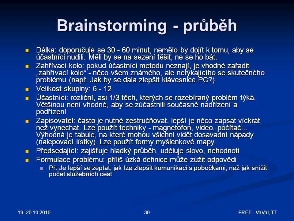 FREE - VaVaI, TT39 Brainstorming - průběh Délka: doporučuje se 30 - 60 minut, nemělo by dojít k tomu, aby se účastníci nudili. Měli by se na sezení tě