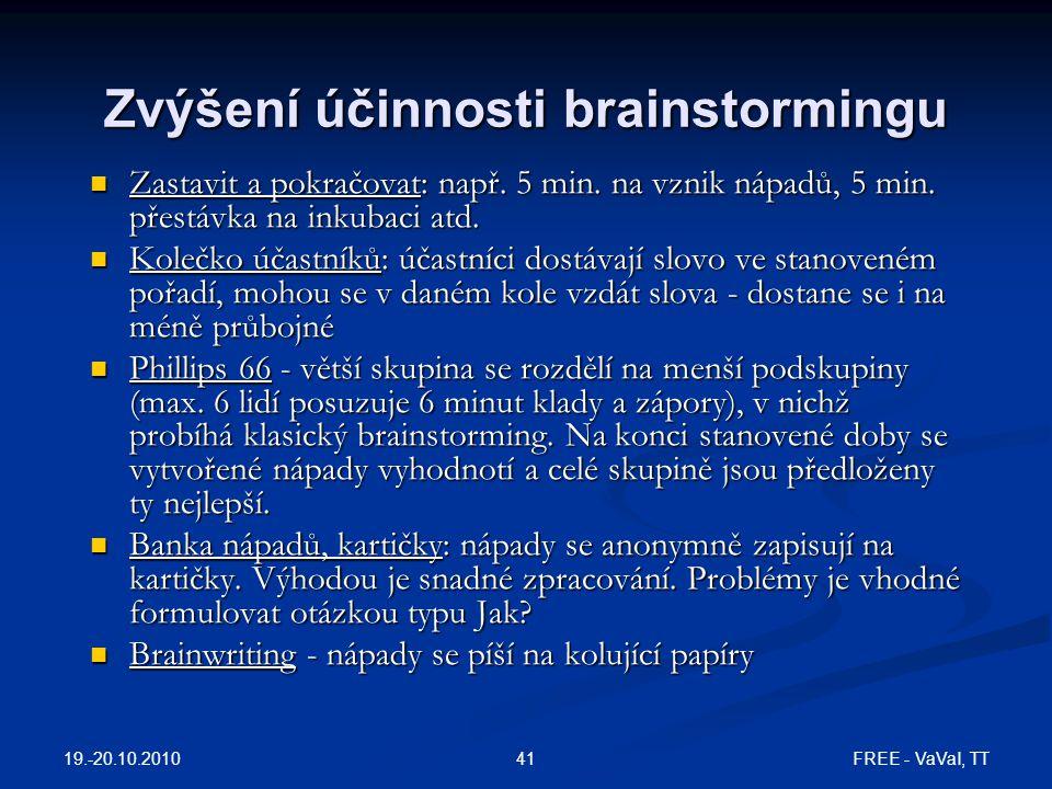 FREE - VaVaI, TT41 Zvýšení účinnosti brainstormingu Zastavit a pokračovat: např. 5 min. na vznik nápadů, 5 min. přestávka na inkubaci atd. Zastavit a