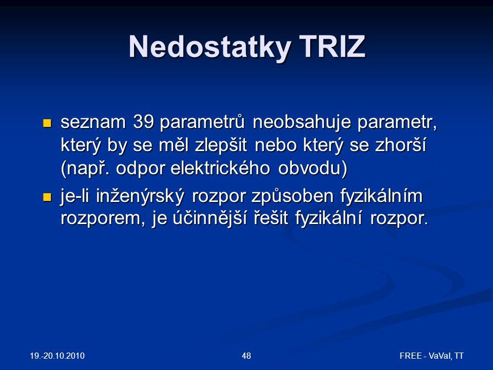 FREE - VaVaI, TT48 Nedostatky TRIZ seznam 39 parametrů neobsahuje parametr, který by se měl zlepšit nebo který se zhorší (např. odpor elektrického obv