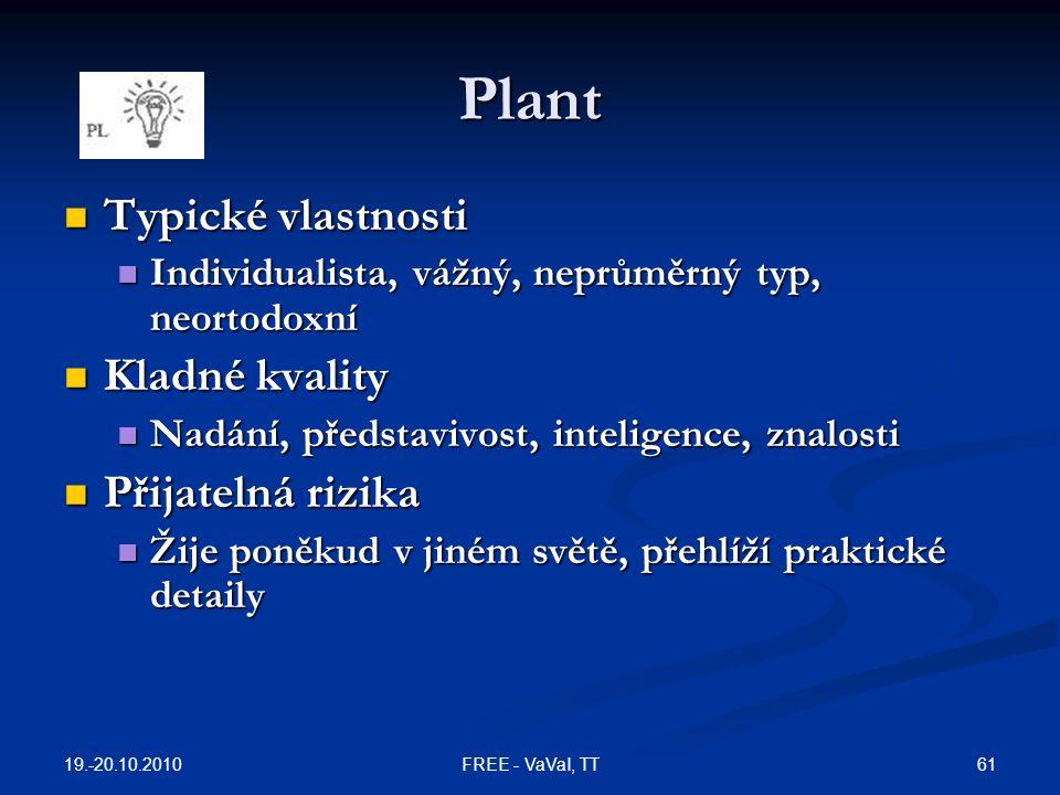 Plant Typické vlastnosti Typické vlastnosti Individualista, vážný, neprůměrný typ, neortodoxní Individualista, vážný, neprůměrný typ, neortodoxní Klad