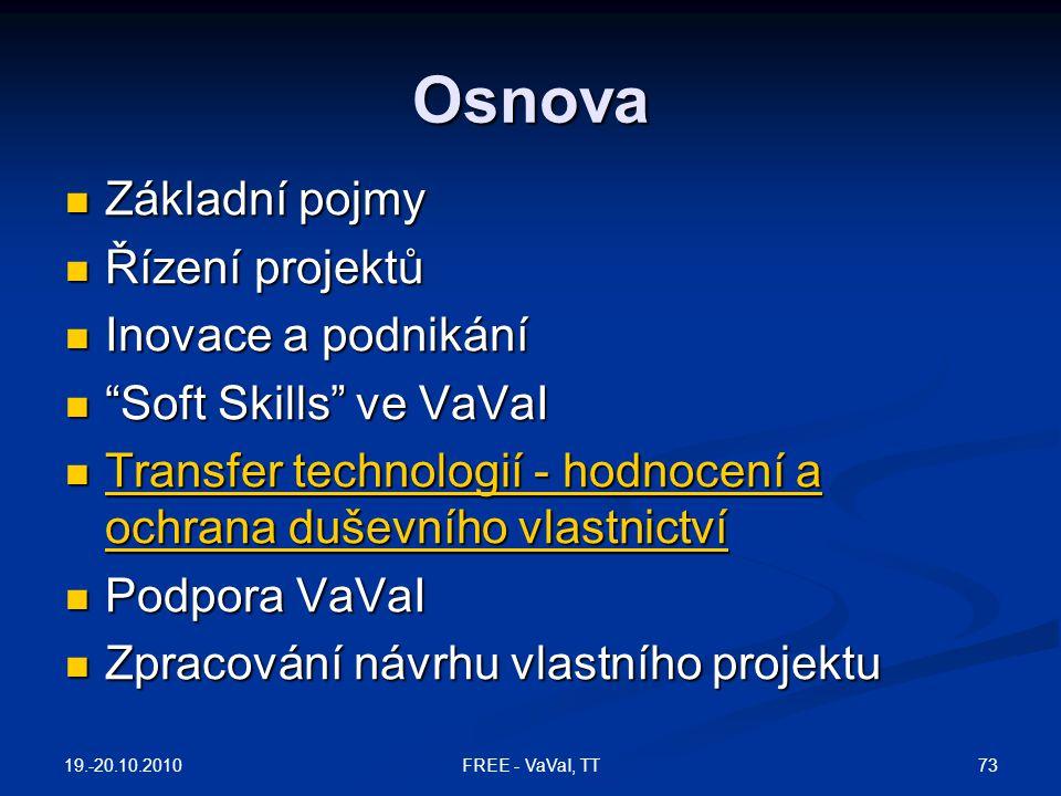 """Osnova Základní pojmy Základní pojmy Řízení projektů Řízení projektů Inovace a podnikání Inovace a podnikání """"Soft Skills"""" ve VaVaI """"Soft Skills"""" ve V"""