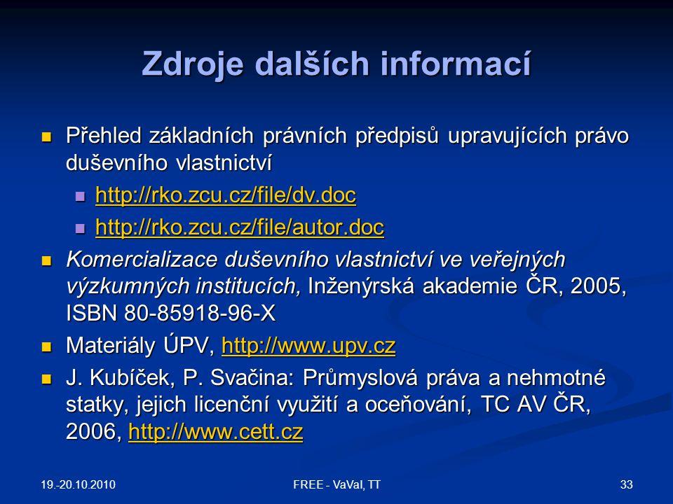 Zdroje dalších informací Přehled základních právních předpisů upravujících právo duševního vlastnictví Přehled základních právních předpisů upravující