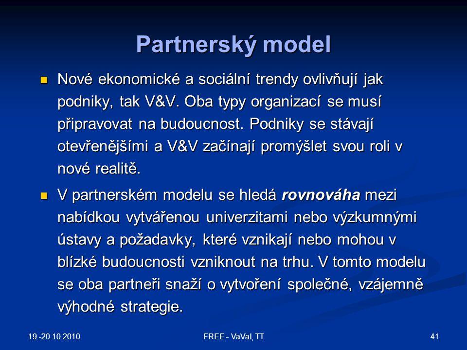 Partnerský model Nové ekonomické a sociální trendy ovlivňují jak podniky, tak V&V. Oba typy organizací se musí připravovat na budoucnost. Podniky se s