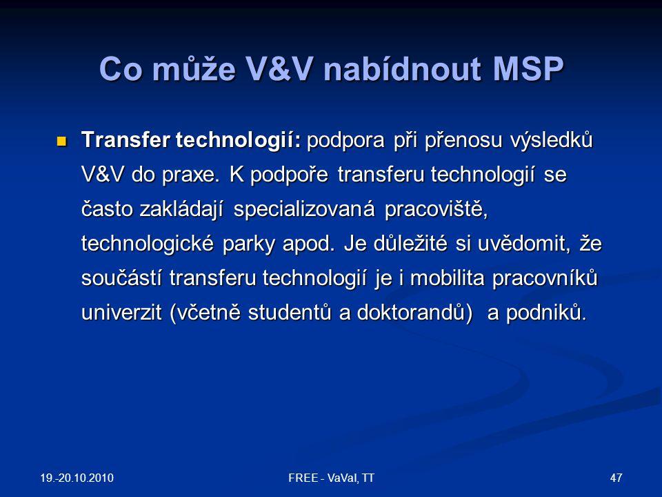 Co může V&V nabídnout MSP Transfer technologií: podpora při přenosu výsledků V&V do praxe. K podpoře transferu technologií se často zakládají speciali