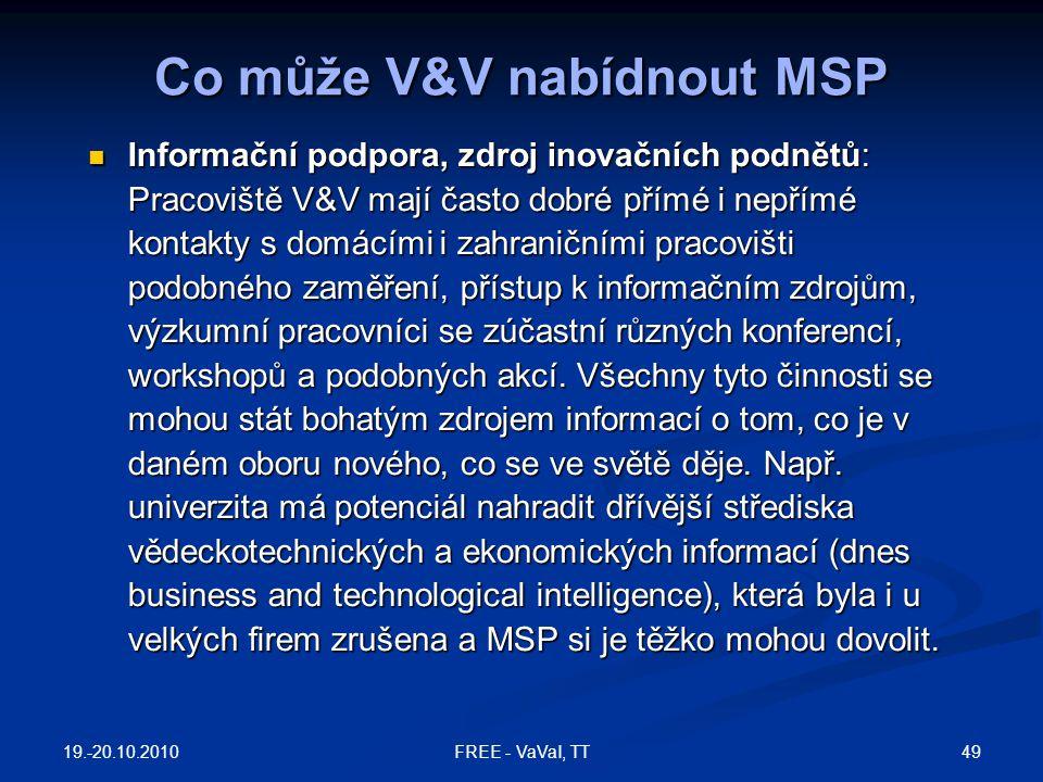 Co může V&V nabídnout MSP Informační podpora, zdroj inovačních podnětů: Pracoviště V&V mají často dobré přímé i nepřímé kontakty s domácími i zahranič