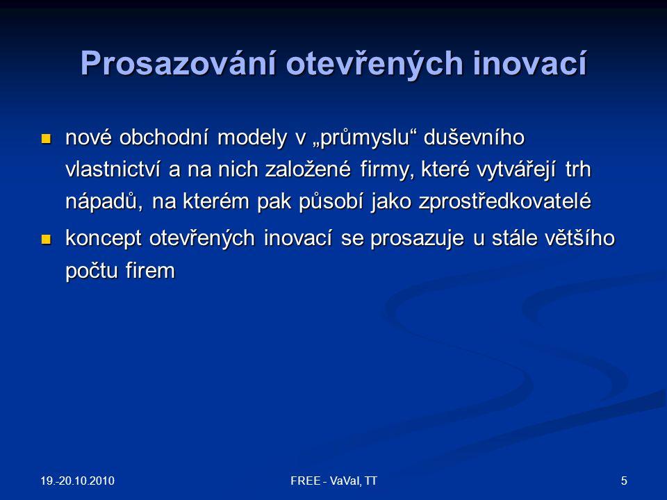 """Prosazování otevřených inovací nové obchodní modely v """"průmyslu"""" duševního vlastnictví a na nich založené firmy, které vytvářejí trh nápadů, na kterém"""