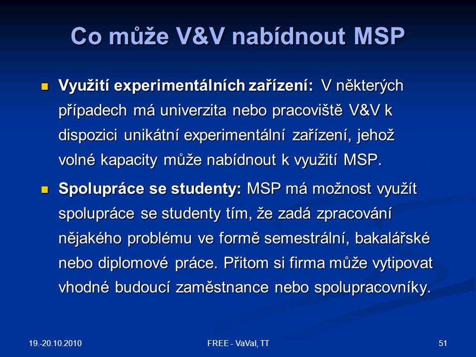 Využití experimentálních zařízení: V některých případech má univerzita nebo pracoviště V&V k dispozici unikátní experimentální zařízení, jehož volné k
