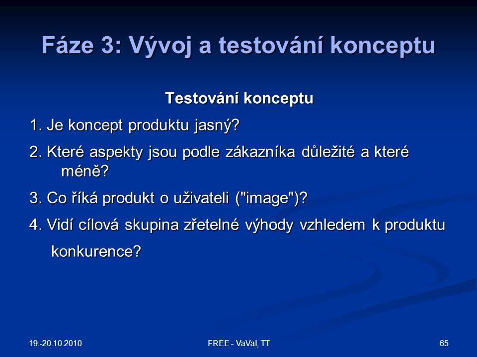 Fáze 3: Vývoj a testování konceptu Testování konceptu 1. Je koncept produktu jasný? 2. Které aspekty jsou podle zákazníka důležité a které méně? 3. Co