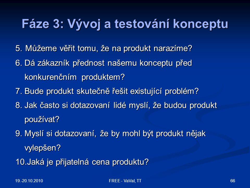 Fáze 3: Vývoj a testování konceptu 5. Můžeme věřit tomu, že na produkt narazíme? 6. Dá zákazník přednost našemu konceptu před konkurenčním produktem?