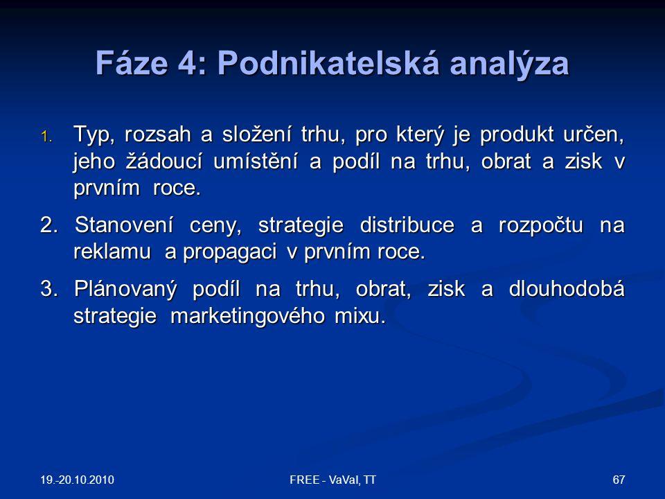 Fáze 4: Podnikatelská analýza 1. Typ, rozsah a složení trhu, pro který je produkt určen, jeho žádoucí umístění a podíl na trhu, obrat a zisk v prvním
