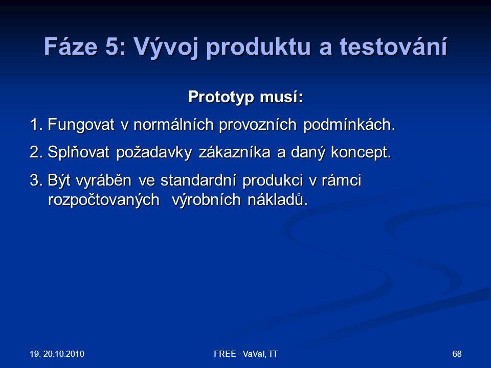 Fáze 5: Vývoj produktu a testování Prototyp musí: 1. Fungovat v normálních provozních podmínkách. 2. Splňovat požadavky zákazníka a daný koncept. 3. B