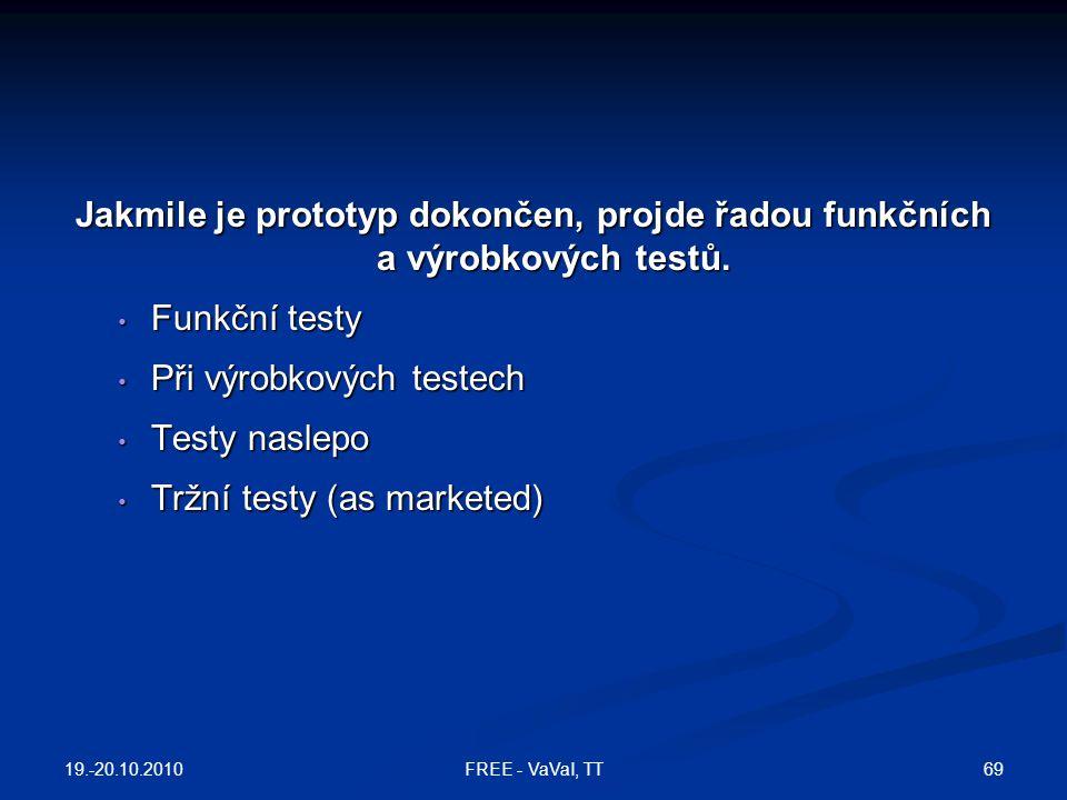 Jakmile je prototyp dokončen, projde řadou funkčních a výrobkových testů. Funkční testy Funkční testy Při výrobkových testech Při výrobkových testech