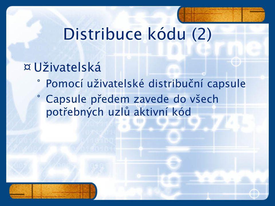 ¤Uživatelská °Pomocí uživatelské distribuční capsule °Capsule předem zavede do všech potřebných uzlů aktivní kód
