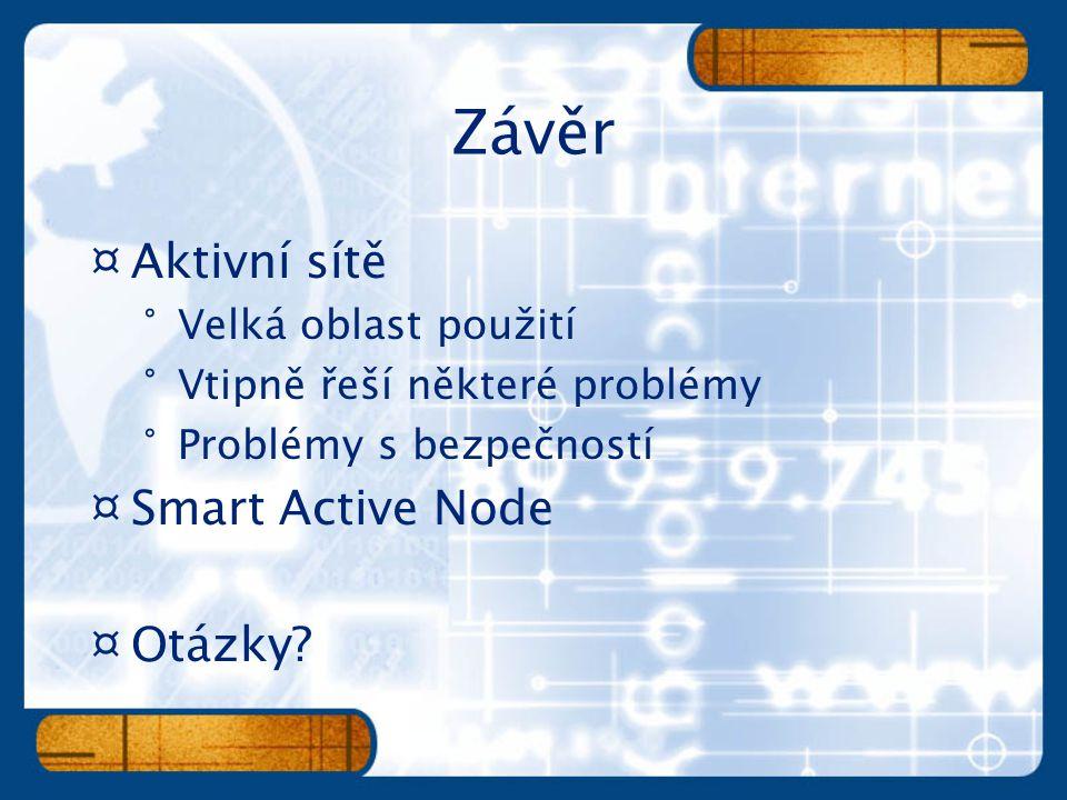 ¤Aktivní sítě °Velká oblast použití °Vtipně řeší některé problémy °Problémy s bezpečností ¤Smart Active Node ¤Otázky