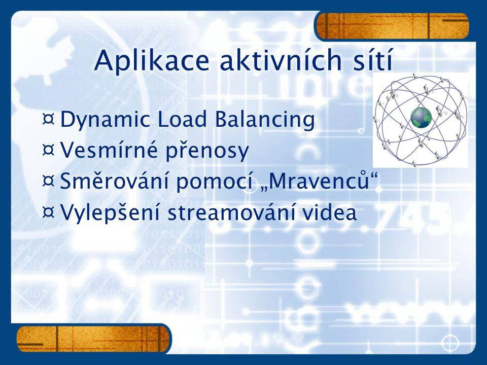 """¤Dynamic Load Balancing ¤Vesmírné přenosy ¤Směrování pomocí """"Mravenců"""" ¤Vylepšení streamování videa"""