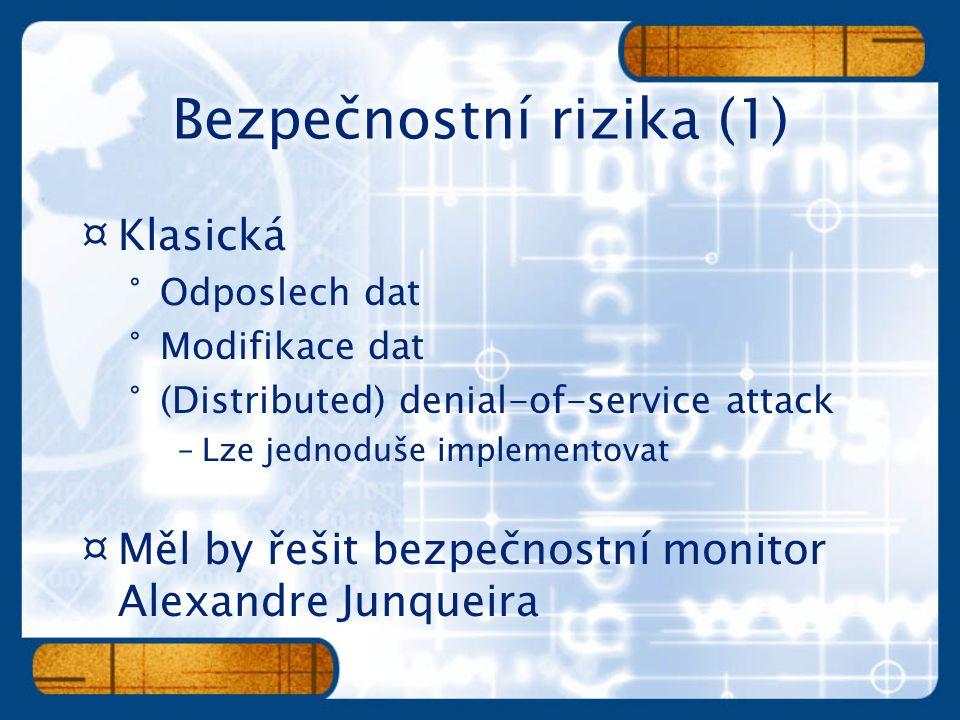 ¤Klasická °Odposlech dat °Modifikace dat °(Distributed) denial-of-service attack –Lze jednoduše implementovat ¤Měl by řešit bezpečnostní monitor Alexa