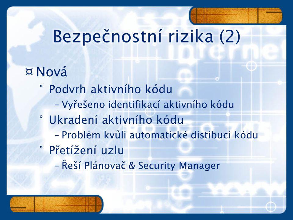 ¤Nová °Podvrh aktivního kódu –Vyřešeno identifikací aktivního kódu °Ukradení aktivního kódu –Problém kvůli automatické distibuci kódu °Přetížení uzlu –Řeší Plánovač & Security Manager