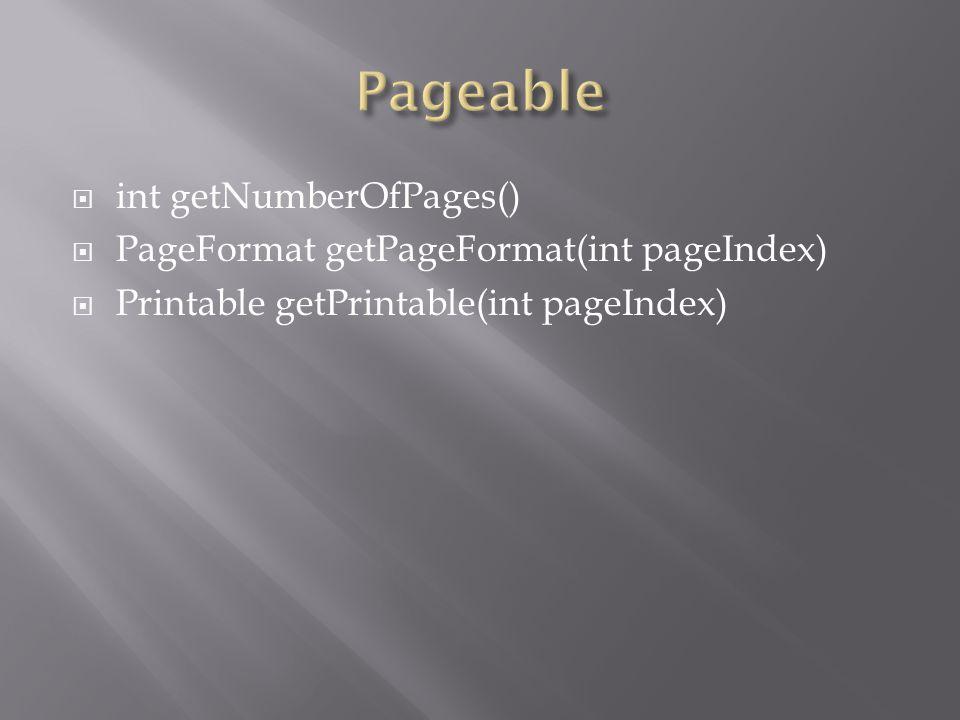  int getNumberOfPages()  PageFormat getPageFormat(int pageIndex)  Printable getPrintable(int pageIndex)