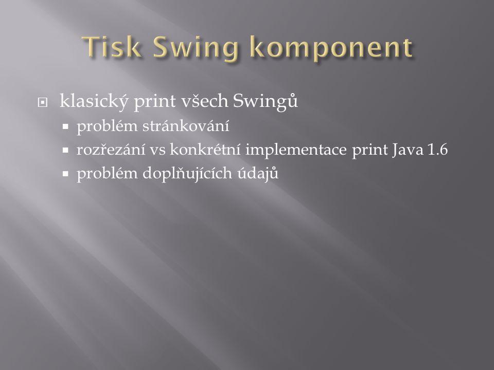  klasický print všech Swingů  problém stránkování  rozřezání vs konkrétní implementace print Java 1.6  problém doplňujících údajů