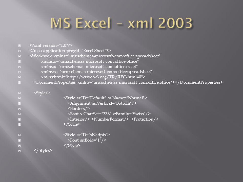   <Workbook xmlns= urn:schemas-microsoft-com:office:spreadsheet  xmlns:o= urn:schemas-microsoft-com:office:office  xmlns:x= urn:schemas-microsoft-com:office:excel  xmlns:ss= urn:schemas-microsoft-com:office:spreadsheet  xmlns:html= http://www.w3.org/TR/REC-html40 > 