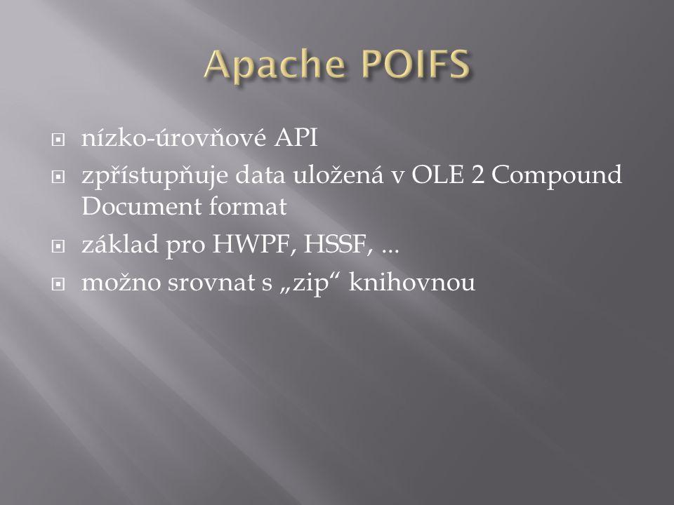  nízko-úrovňové API  zpřístupňuje data uložená v OLE 2 Compound Document format  základ pro HWPF, HSSF,...
